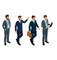 isometry icons emotions of men 3d business men vector image