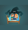 pair of scared children sitting on bed and hiding vector image vector image
