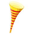 Party horn in yellow color vector image