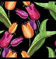 pattern of the drawn tulips vector image vector image