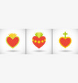 sacred hearts flat icons vector image vector image