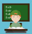 school boy seated at desk vector image vector image