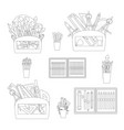 school stationery and art supplies set vector image vector image