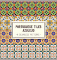 seamless patterns set with portuguese tiles vector image