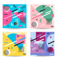 set abstract colorful memphis style backgrounds vector image vector image