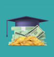 stack paper dollar and student cap at top vector image