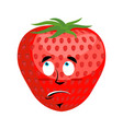 strawberry surprised emoji red berry astonished vector image vector image