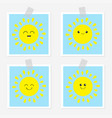sun shining icon set kawaii face with emotions vector image