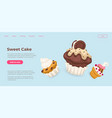 sweet cake cupcakes and muffins in online store vector image