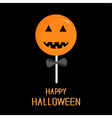 Sweet candy lollipop with pumpkin face Black bow vector image vector image