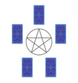 tarot card spread with pentagram reverse side vector image