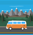 travel van in the mountains flat style vector image vector image
