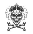 vintage monochrome king skull wearing crown vector image vector image