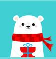 white polar bear cub face holding gift box vector image vector image