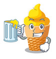 with juice banana ice cream in shape cartoon vector image