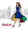 woman in madrid vector image vector image