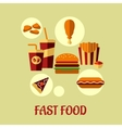 Fast food flat poster design vector image