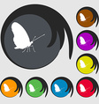 butterfly icon sign Symbol on eight colored vector image