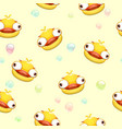 funny seamless pattern with crazy yellow duck vector image
