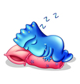 A blue monster sleeping above a pillow vector image vector image