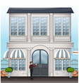 A waiter near the entrance door of the restaurant vector image vector image