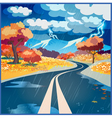 Autumn rainy road vector image vector image