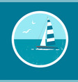 badge with yacht and birds vector image vector image