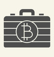 bitcoin case solid icon portfolio with crypto vector image