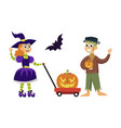 boy and girl in horror costume poster vector image