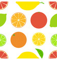 citrus seamless bright summer pattern orange lemon vector image vector image