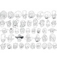 cool different cartoon black and white characters vector image vector image