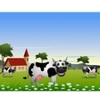 Cute cow cartoon with landscape background