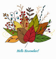 doodle autumn bouquet with leaves vector image