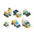 engineering vehicles isometric 3d vector image
