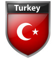 flag on turkey on badge design vector image vector image