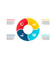 flat circle element for infographic with 4 vector image vector image
