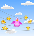 flock of birds sitting on wires vector image vector image