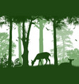 forest wildlife poster deers silhouettes on white vector image vector image
