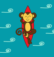 Funny brown monkey is surfing vector image