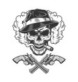 Gangster skull wearing fedora hat