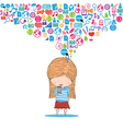 Girl teens playing with phone social network hand vector image vector image