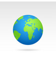 globe earth map with shadow on a white background vector image vector image