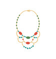 golden necklace with gemstones fashion jewelry vector image vector image