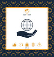 hand holding earth protect icon vector image