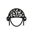 helmet icon on white background vector image vector image