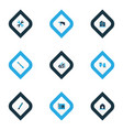industrial icons colored set with drawing set vector image vector image