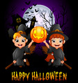 little girl witch and little boy costume flying wh vector image