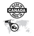 made in canada stamp world map with zoom on vector image vector image