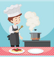 male chef cooking pasta vector image
