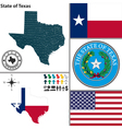 map texas with seal vector image vector image